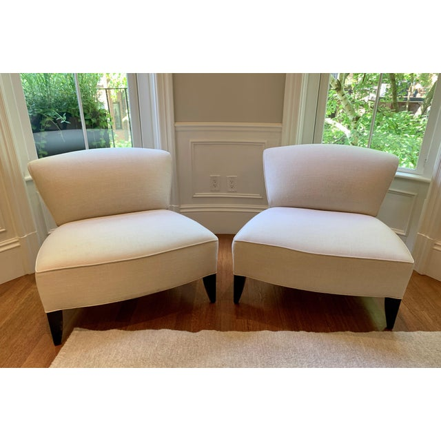 White Traditional Todd Hase Govida Mohair Amelia Slipper Chairs - a Pair For Sale - Image 8 of 8