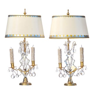 1900's French Bronze and Crystal Girondole Lamps - a Pair For Sale