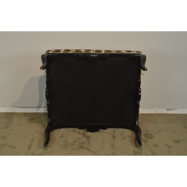 French Louis XV Style Black Painted Large Ottoman Footstool For Sale - Image 4 of 13