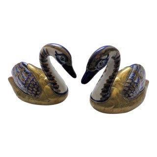 Mexican Brass Wrapped Ceramic Hand-Painted Swan Figurines - a Pair For Sale