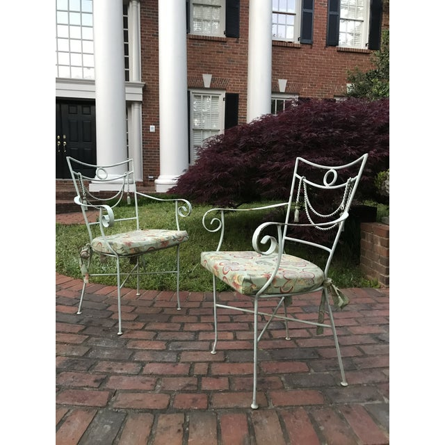 French 1960s Muted Green Iron Bistro Chairs With Rope Swag Design Credited to Tomaso Buzzi - a Pair For Sale - Image 3 of 12