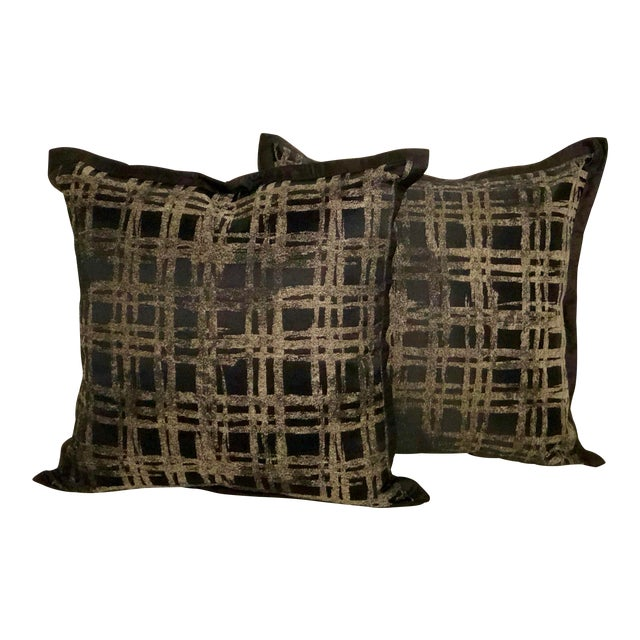 """Pair of 20"""" Black and Gilt Silk Pillows by Jim Thompson For Sale"""