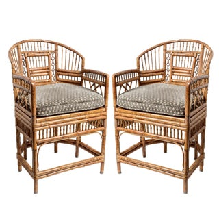 Brighton Bamboo Barrel Chairs, A-Pair