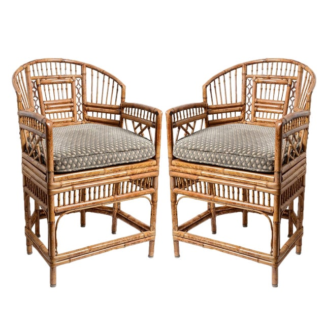Brighton Bamboo Barrel Chairs, A-Pair For Sale