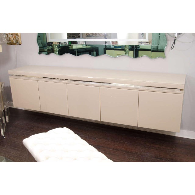 Glass Reverse Painted Glass Sideboard For Sale - Image 7 of 7