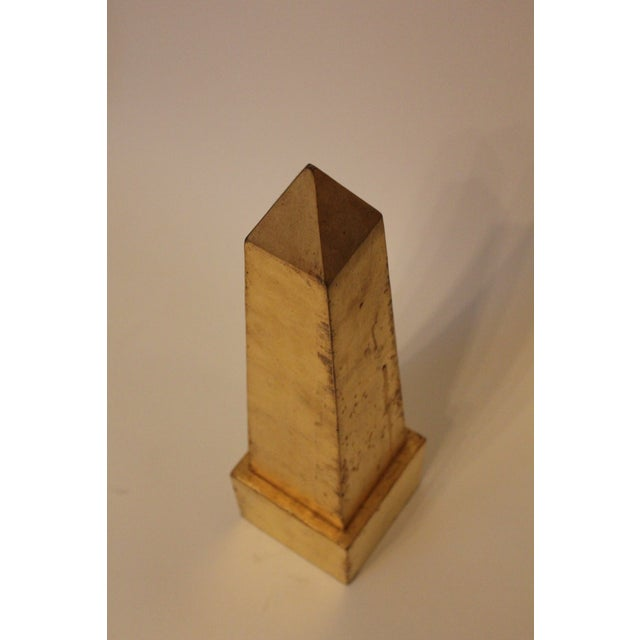 Modern Modern Gold-Leafed Steel Obelisk For Sale - Image 3 of 6
