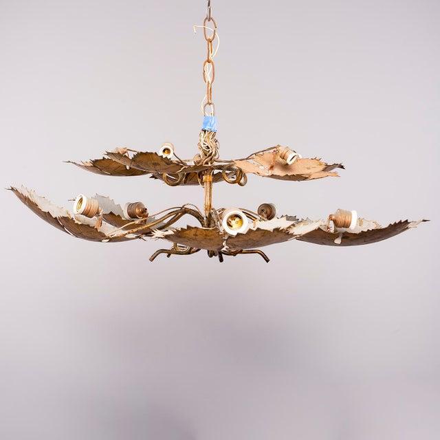 Spanish Gilt Metal Leaf Form Five Light Hanging Fixture For Sale - Image 13 of 13