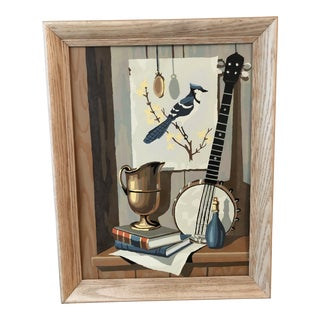 Mid-Century Modern Blue Jay Still Life Paint by Number For Sale