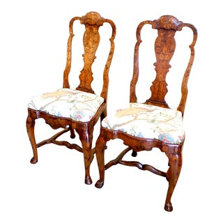 Late 18th Century Antique Dutch Marquetry Side Chairs - A Pair