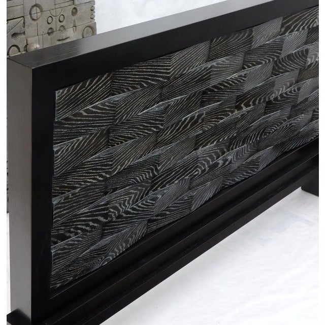 Large Massive King Size Black Lacquer Cerused Oak Bed Headboard For Sale - Image 10 of 13