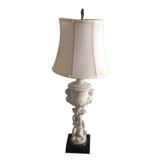 Hollywood Regency Putti Lamp With Silk Shade For Sale