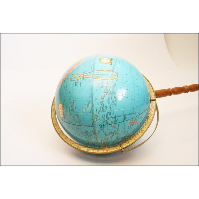 Metal Vintage Revolving World Globe with Wood Pedestal Stand For Sale - Image 7 of 11
