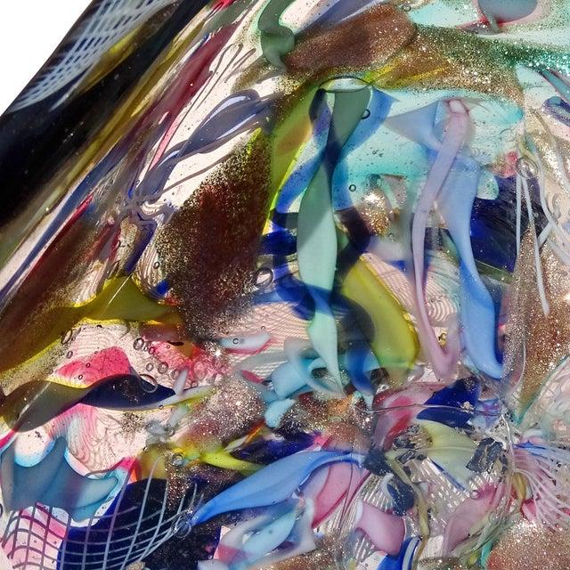 Murano Vintage Latticino Zanfirico Ribbon Aventurine Flecks Italian Art Glass Mid Century Jewelry Dish For Sale In Orlando - Image 6 of 8