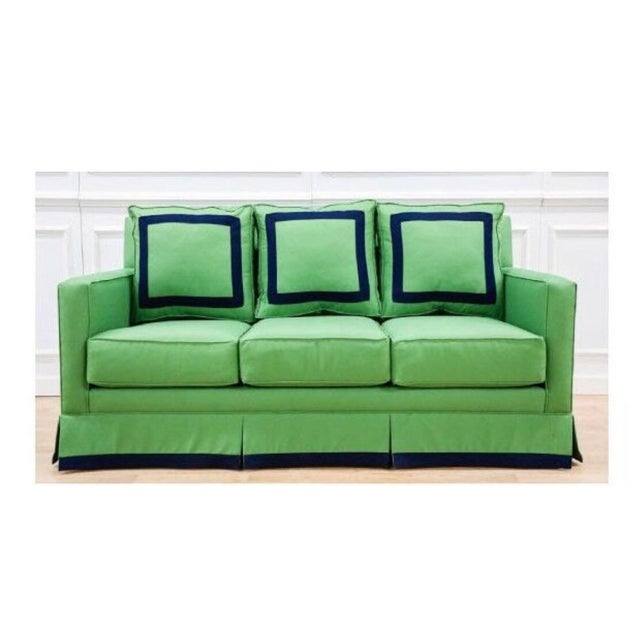 """Traditional 75"""" Sofa, Performance Kelly Green Linen With Navy Trim Detail For Sale - Image 3 of 3"""