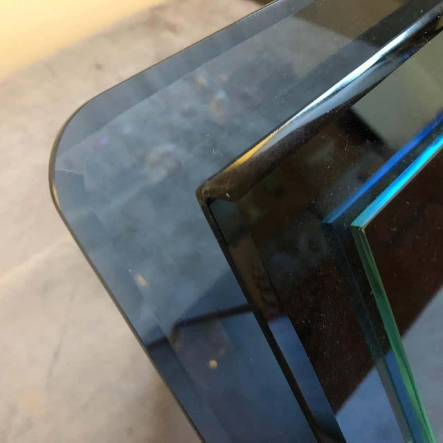 1970s 1970s Italian Vintage Cristal Arte Blue Glass Photo Frame For Sale - Image 5 of 13