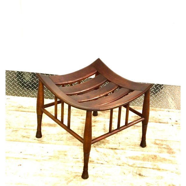 Vintage Liberty & Co Brown Wood Thebes Stool Ottoman For Sale - Image 10 of 10