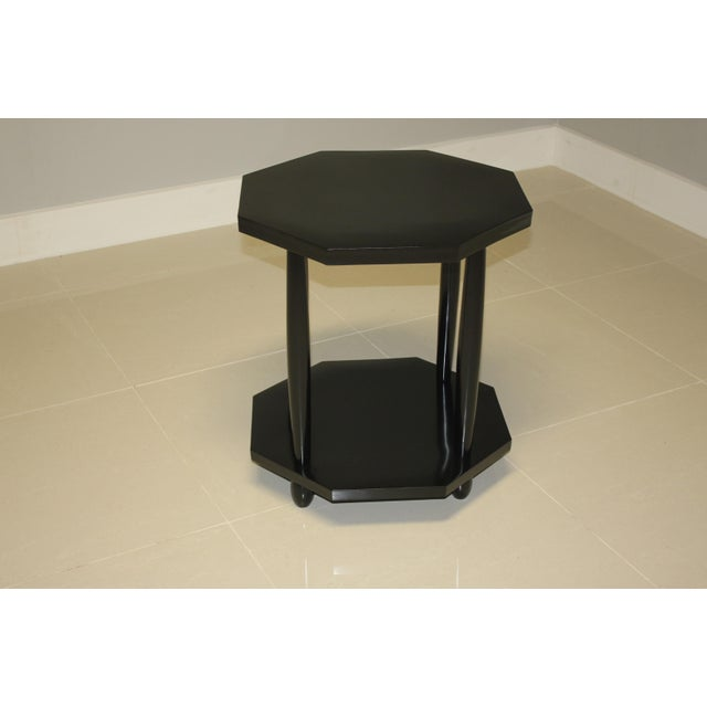 1940s French Art Deco Black Ebonized Coffee / Side Table For Sale - Image 10 of 13