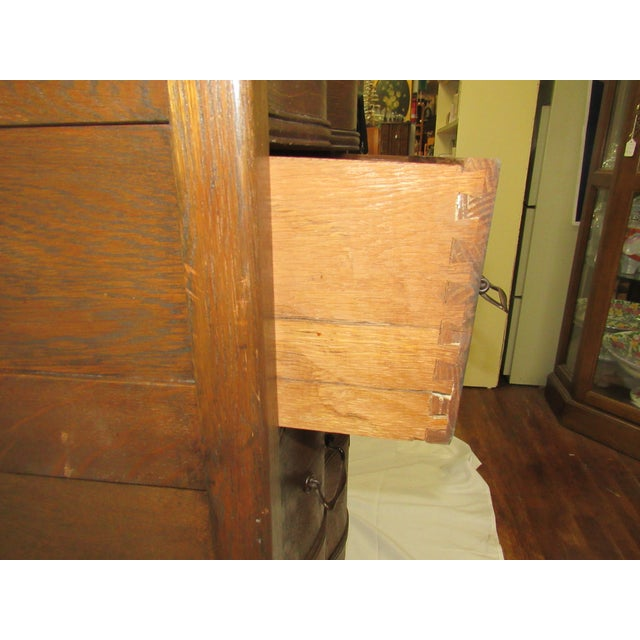 1900s Traditional Oak Highboy Dresser With Mirror For Sale - Image 11 of 12
