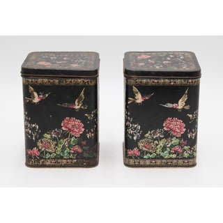 Antique French Hand Painted Tole Tea Tins - a Pair Preview