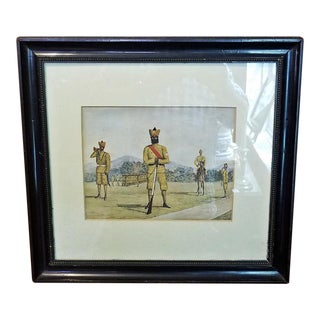 19c Anglo Indian Sikh Regiment Military Watercolor