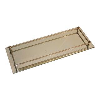 Mirrored Glass Slim Vanity Tray with Railing