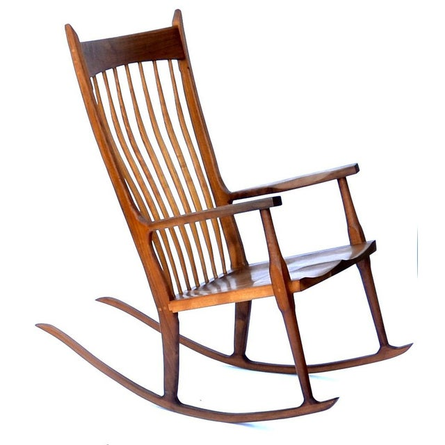 Contemporary Hand-Crafted Wooden Rocking Chair For Sale - Image 3 of 9