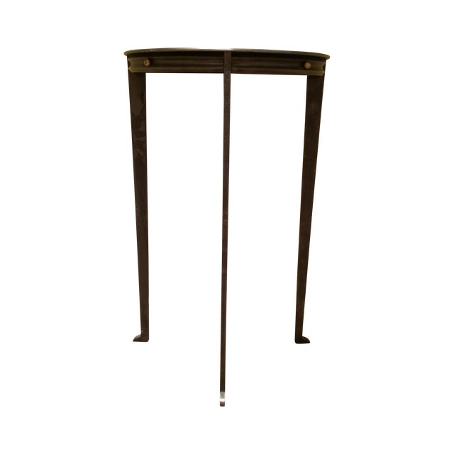 Gun Metal Silver Transitional Demilune Side Table - Image 1 of 6