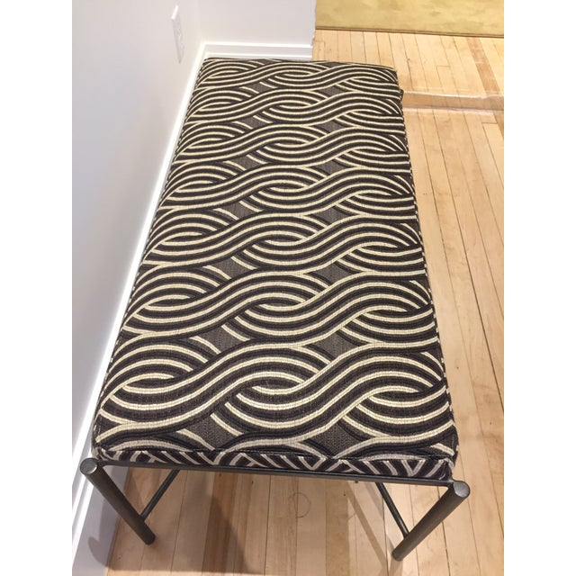 Nicely sized bench/ ottoman newly upholstered in Bronze, Brown and Cream Serpentine Patterned Jacquard Fabric with...