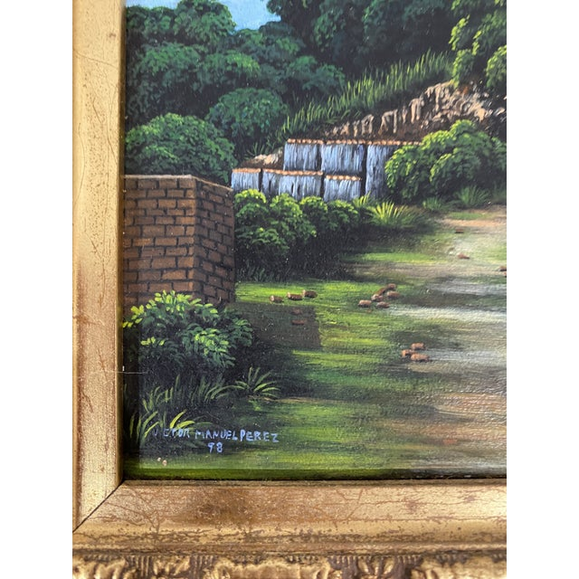 Beautiful fine detail in this gorgeous little painting on wood panel in great ornate frame. Signed Manuel Perez Very...