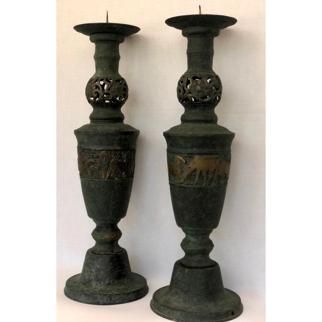 Hollywood Regency James Mont Style Greek Key/Horses Design Cast Bronze Verdigris Floor Candlesticks - a Pair For Sale - Image 3 of 12
