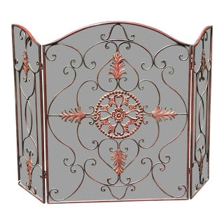 Late 20th Century Hand Forged Freestanding Fireplace Screen For Sale