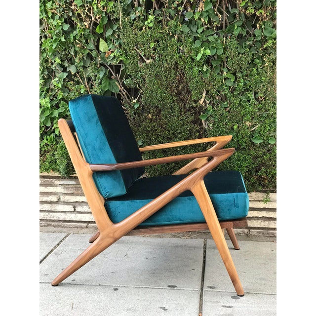 Mid-Century Modern Mid Century Z Chair in Peacock Jade For Sale - Image 3 of 13