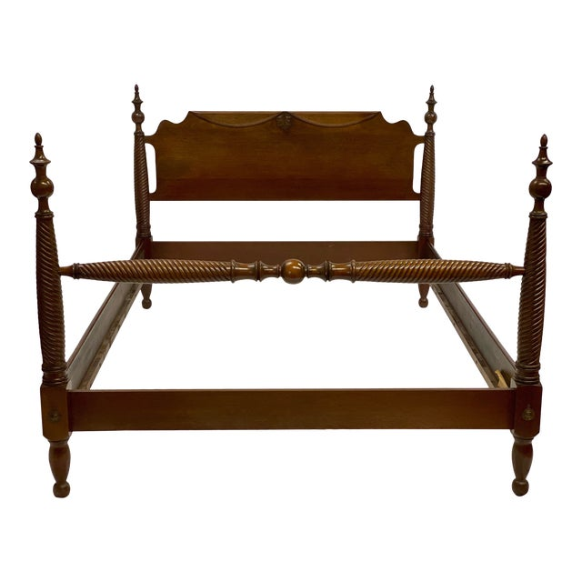 Mid 20th Century Mahogany Statton Trutype Full Four Poster Bedframe For Sale