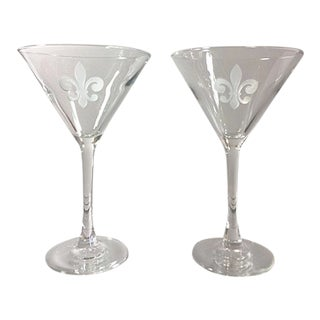 Fleur De Lis Etched Martini Glasses - a Pair For Sale
