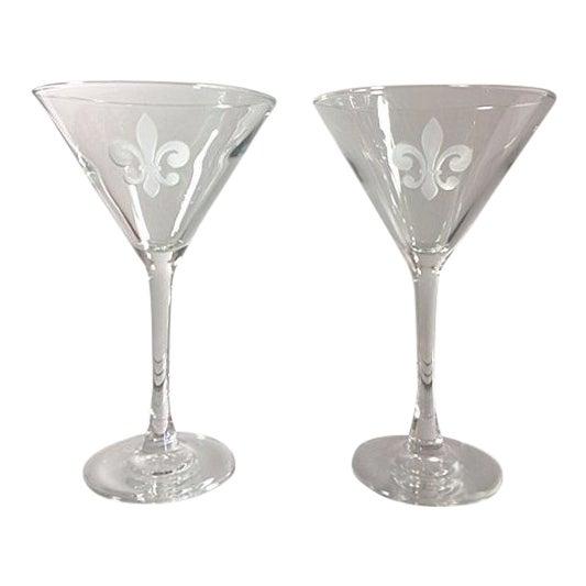 Fleur De Lis Etched Martini Glasses - a Pair For Sale