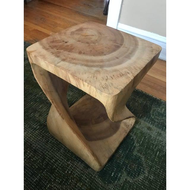 Twisting Natural Wood Stool - Image 5 of 5
