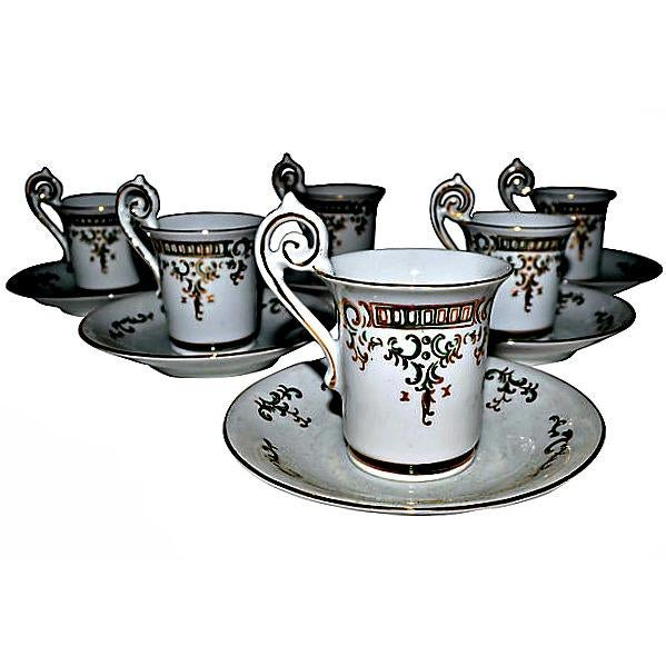 Porcelain Coffee Cups & Saucers - Set of 6 | Chairish
