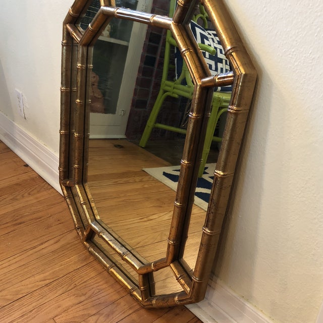 Asian Faux Bamboo Octagon Mirror For Sale - Image 3 of 8