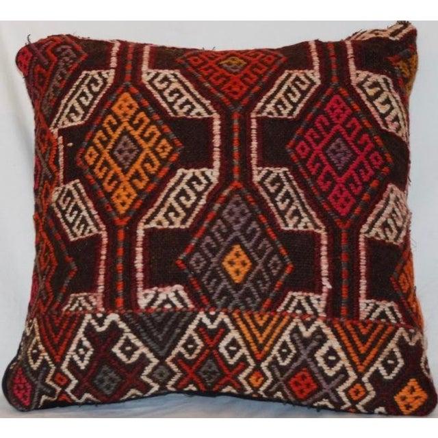 Vintage Handmade Boho Chic Wool Kilim Pillow For Sale - Image 5 of 5