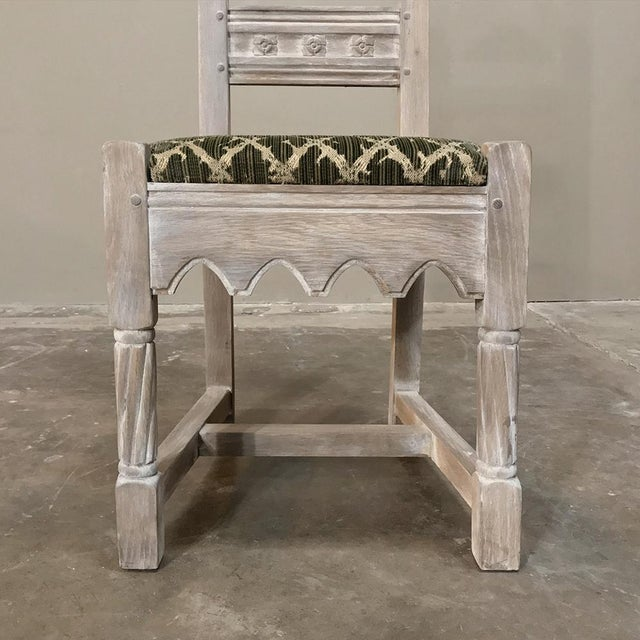 Early 20th Century Antique Rustic Gothic Stripped Dining Chairs- Set of 6 For Sale - Image 9 of 12
