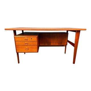 Vintage Danish Mid Century Modern Teak Desk by Kai Kristiansen For Sale