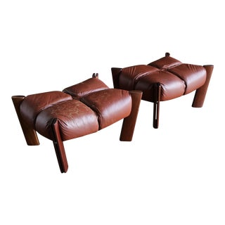 Percival Lafer Rosewood and Leather Ottomans - a Pair For Sale