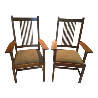 Stickley Mission Collection Oak Arm Chairs - A Pair