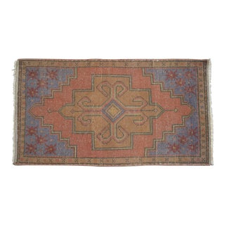 """Hand Knotted Small Oushak Yastik Rug Mat - 1'8"""" X 2'11"""" For Sale"""