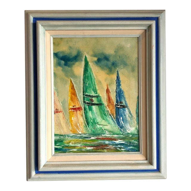 Coastal Vintage Sail Boats Painting For Sale