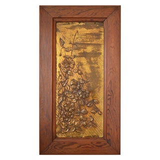 1900s Art Nouveau Brassware Panel, Flowers Under a Sunbeam For Sale