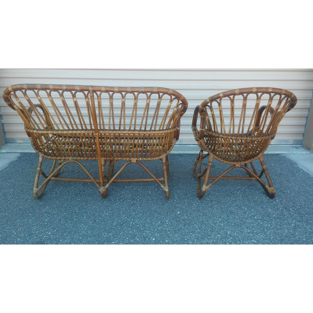 Brown Vintage Franco Albini Rattan Loveseat and Chair - a Pair For Sale - Image 8 of 13