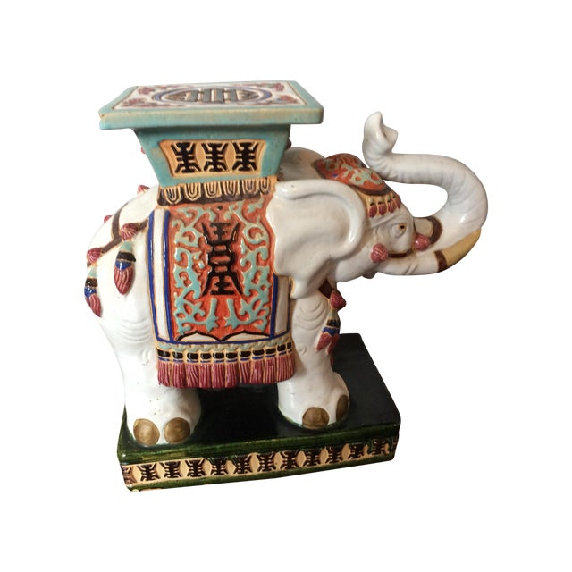 Vintage Asian Elephant Garden Stool or Side Table - Image 1 of 8