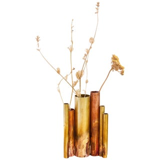 Soliflores II, Sculpted Brass Vase Signed by Pia Chevalier For Sale