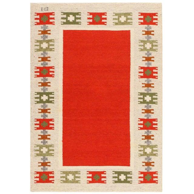 Vintage Swedish-Scandinavian Wool Rug - 4′6″ × 6′4″ For Sale